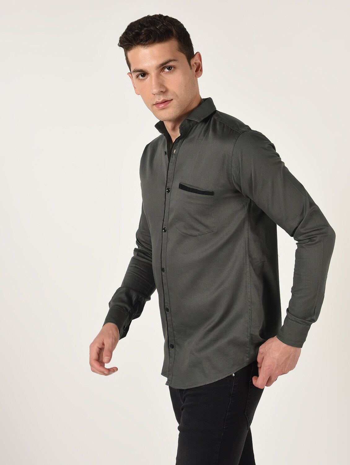 Gray Solid Long Sleeves Cotton Shirt