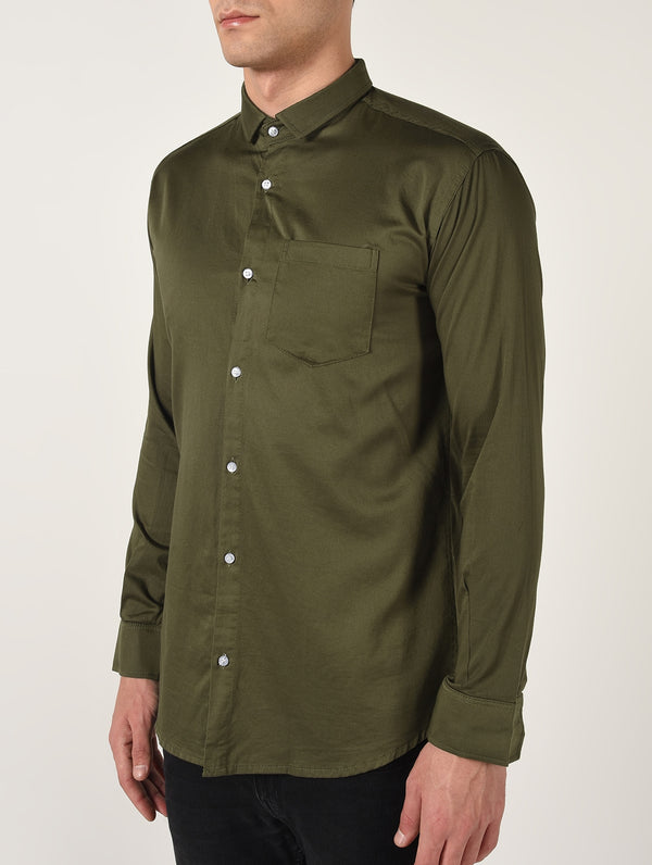 Green Solid Long Sleeves Cotton Shirt