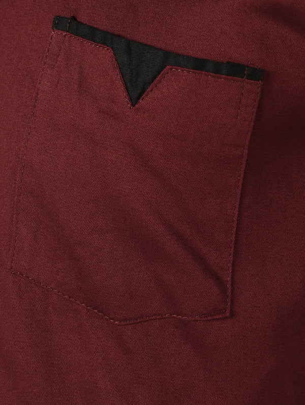 Red Solid Long Sleeves Cotton Shirt