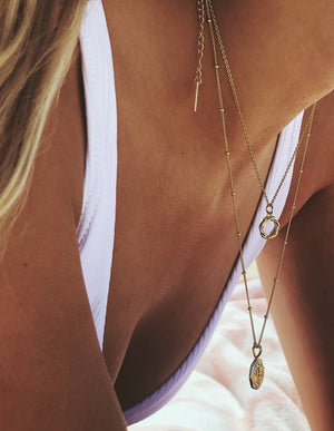 Layered gold vermeil pendant coin necklace