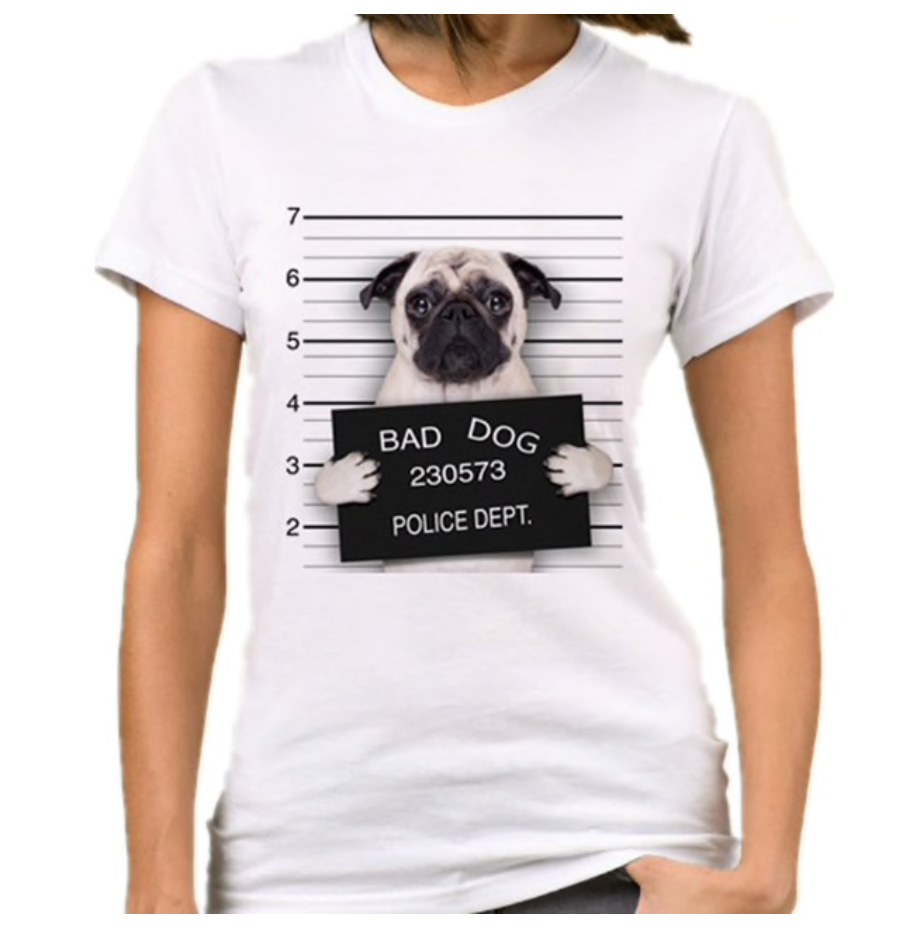 Womens t-shirt - Bad Dog - Pug