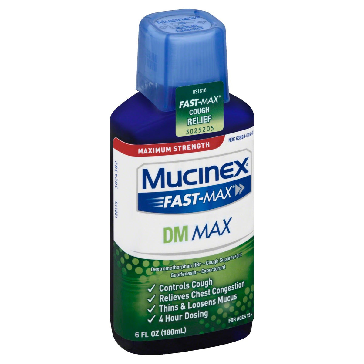 Mucinex Fast-Max DM, Max Strength, Cough Relief Liquid, 6