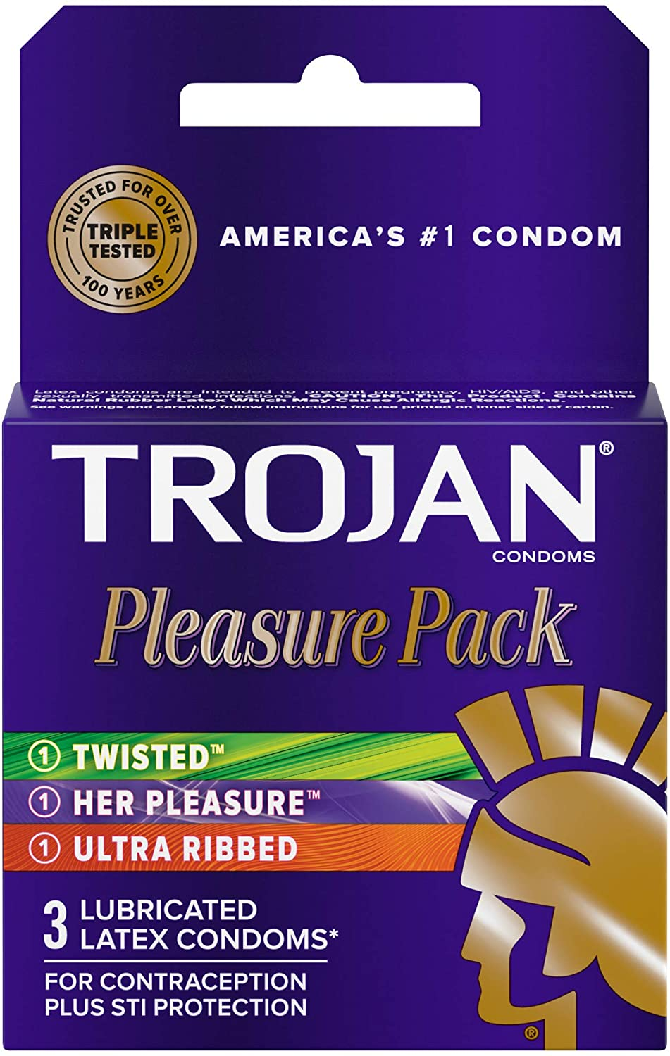 Trojan Pleasure Variety Pack Lubricated Condoms 3 Count