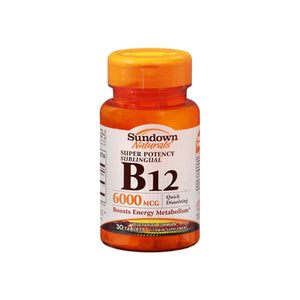 Sundown Naturals Super Potency Sublingual B-12 6000 mcg Tablets 30 ea