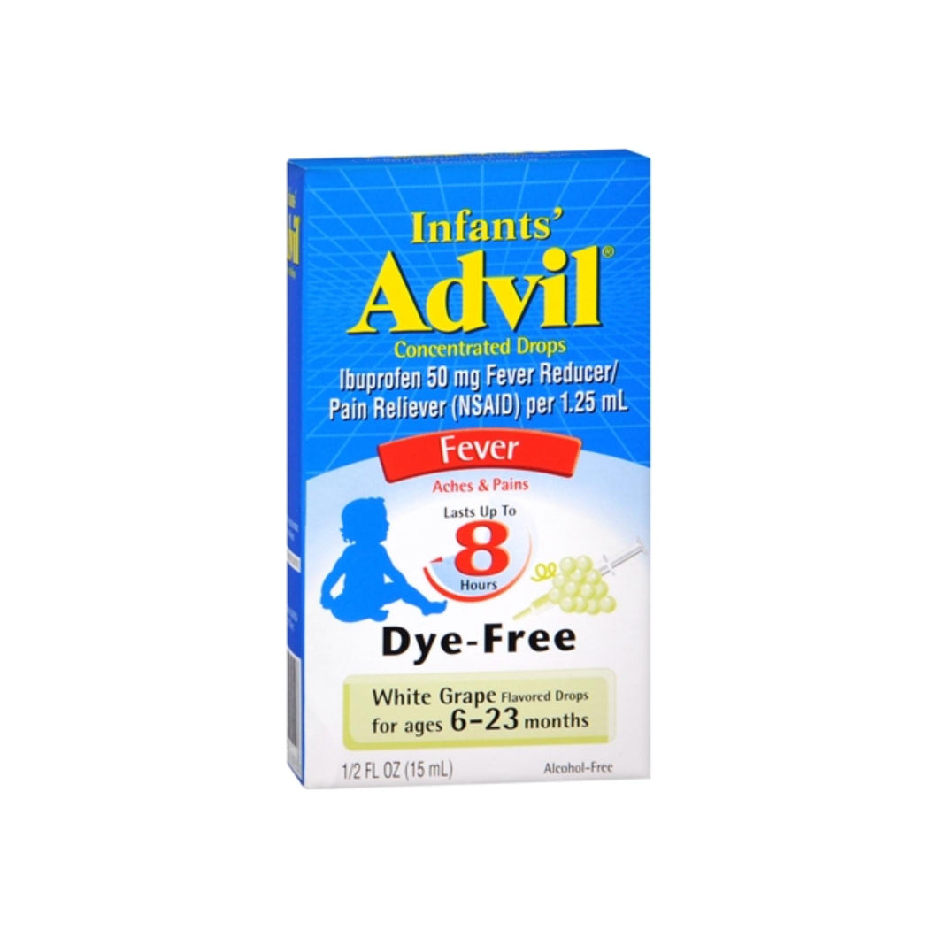 Advil Infants' Concentrated Drops White Grape Flavored Dye-Free 0.50 oz - Pharmapacks