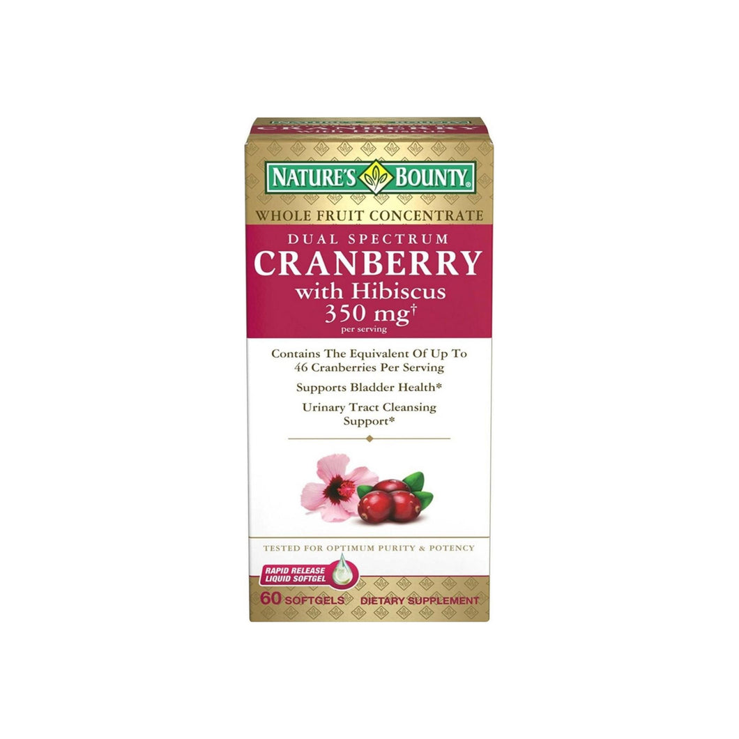 Nature's Bounty Dual Spectrum Cranberry with Hibiscus Softgels 350 mg 60 ea