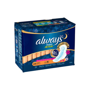 Always Fresh Maxi Active Overnight Pads with Flexi-Wings 24 ea