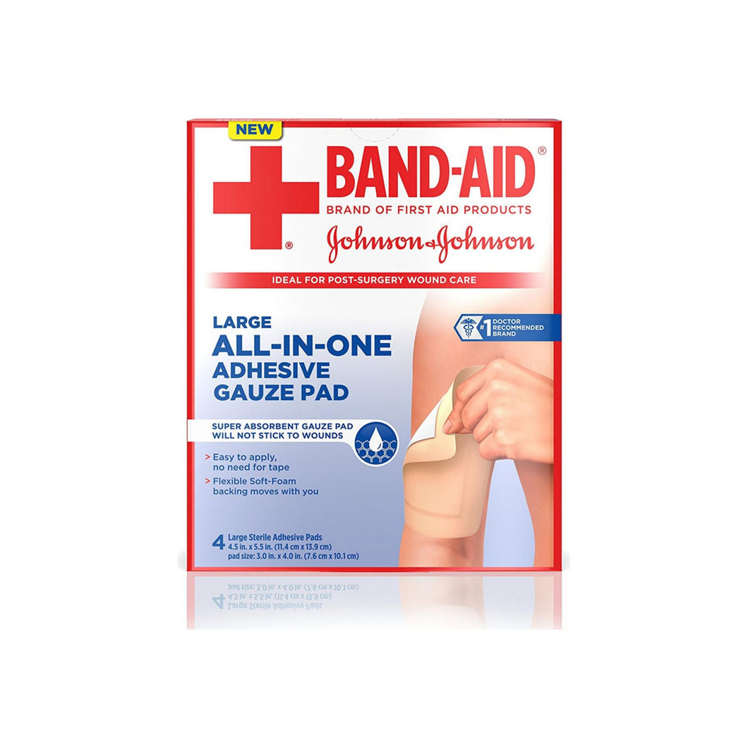 BAND-AID All-In-One Adhesive Gauze Pads, Large 4 ea