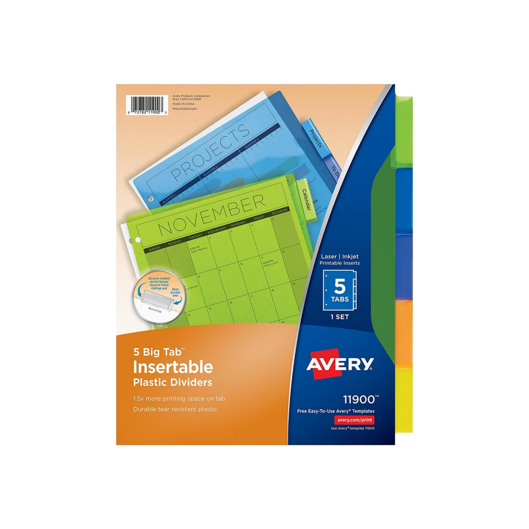 Avery Big Insertable Plastic Dividers 5 ea