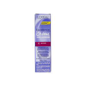 L'Oreal Excellence Creme Gray Coverage Permanent Hair Color, Dark Brown [4] 1.74 oz