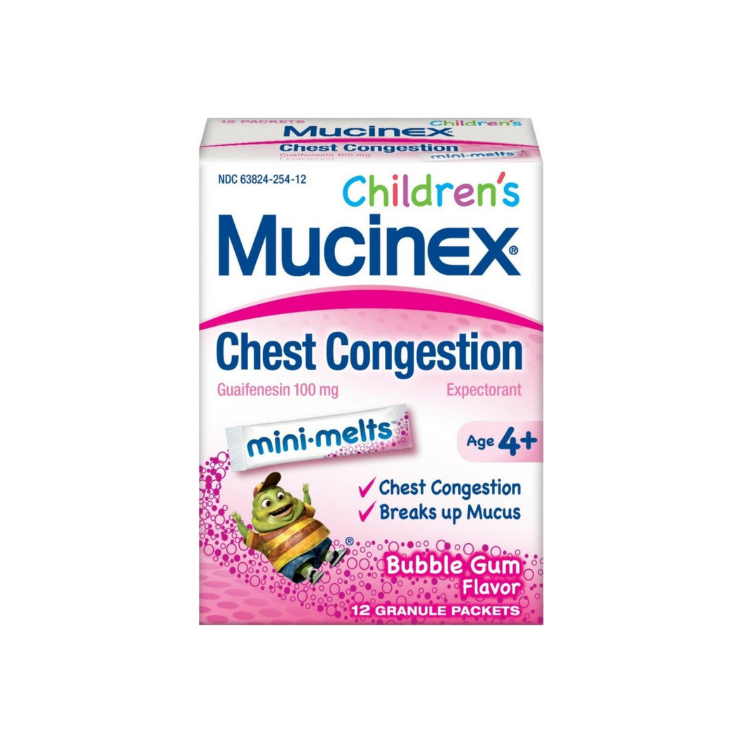 Mucinex Children's Mini Melts, Chest Congestion, Bubble Gum 12 ct