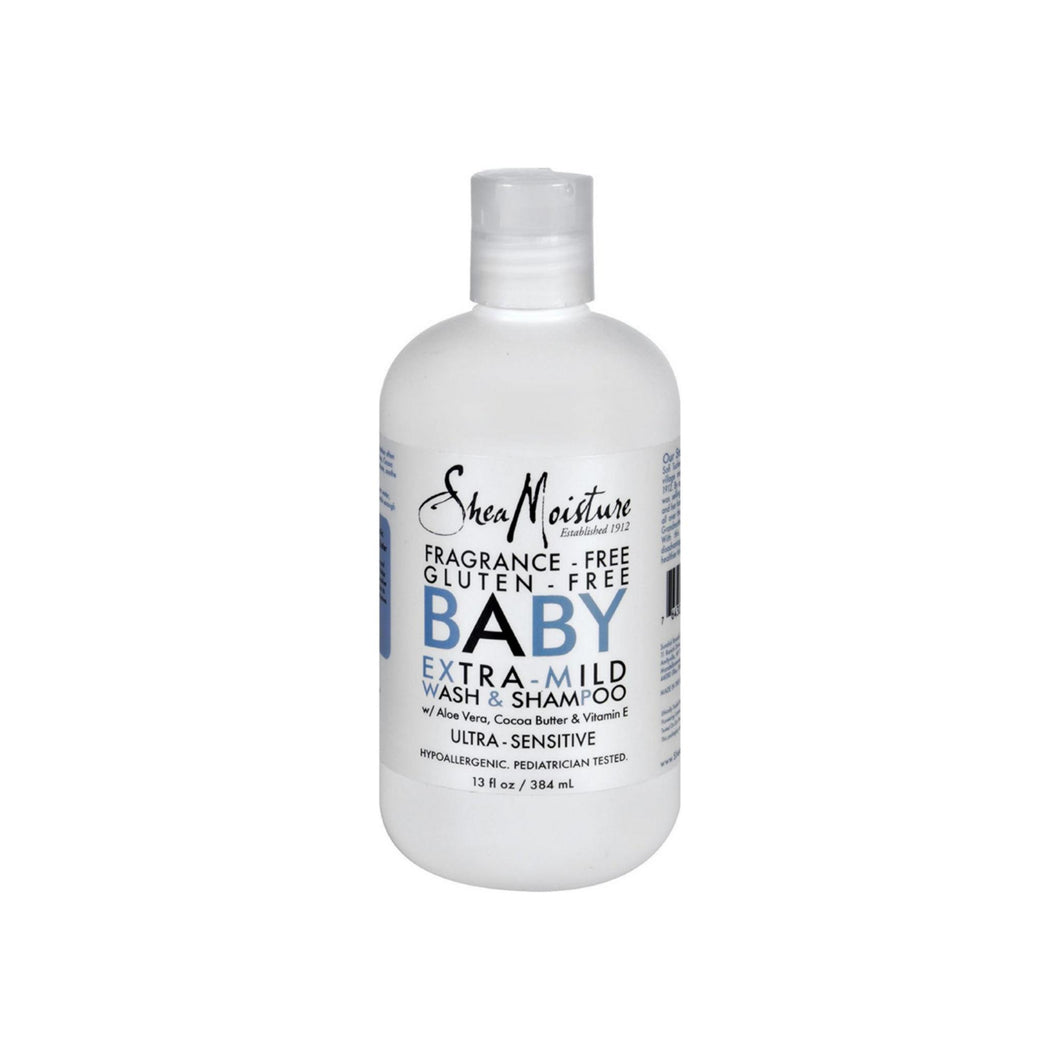 Shea Moisture Ultra-Sensitive Baby Extra Mild Wash & Shampoo, Fragrance Free 13 oz