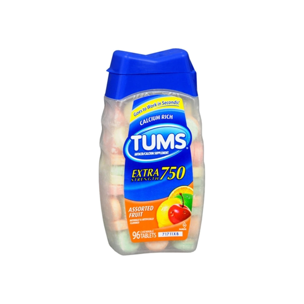 TUMS E-X 750 Tablets Assorted Fruit 96 Tablets