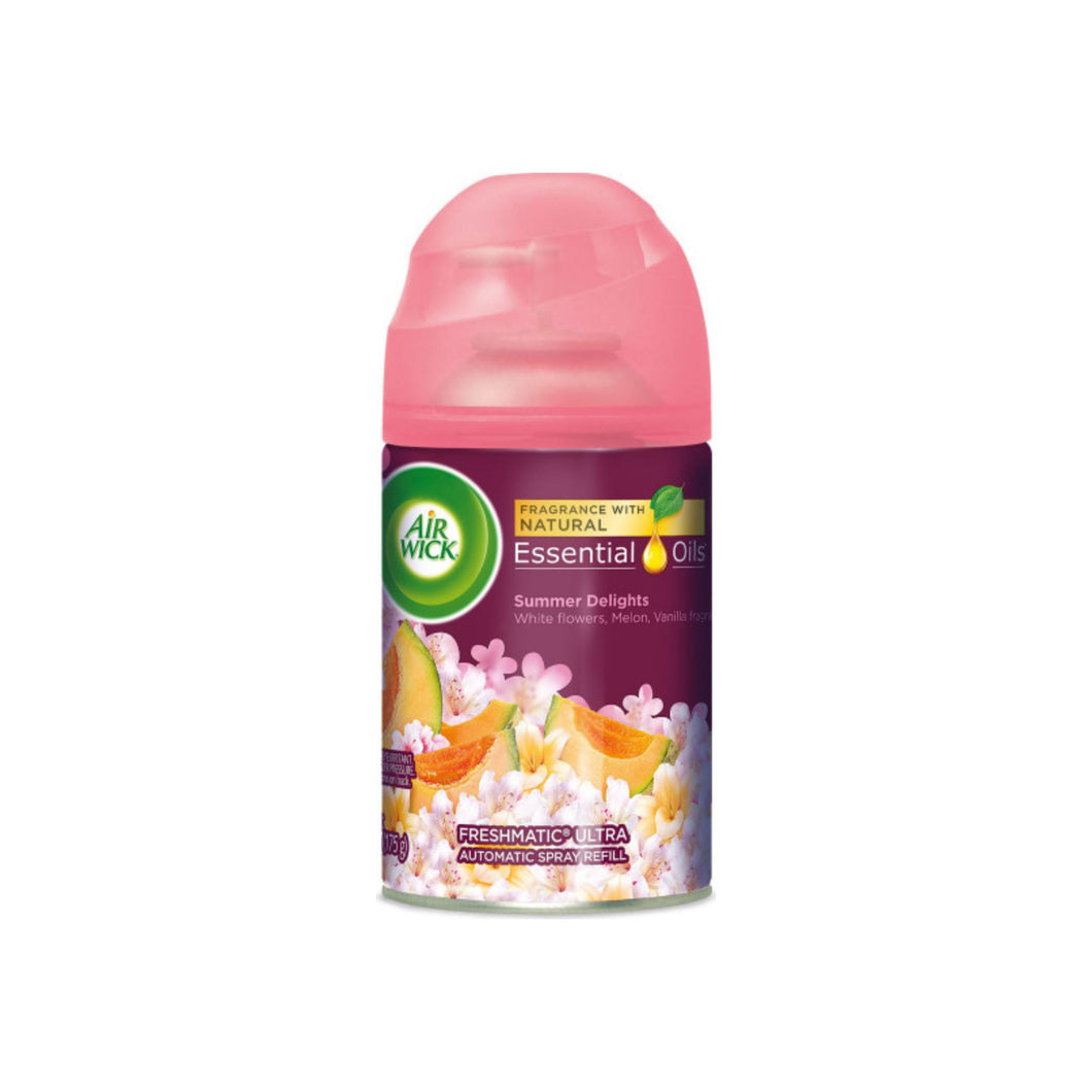Air Wick Life Scents Automatic Air Freshener Spray, Summer Delights with White Flowers, Melon & Vanilla Scent, 6.17 oz
