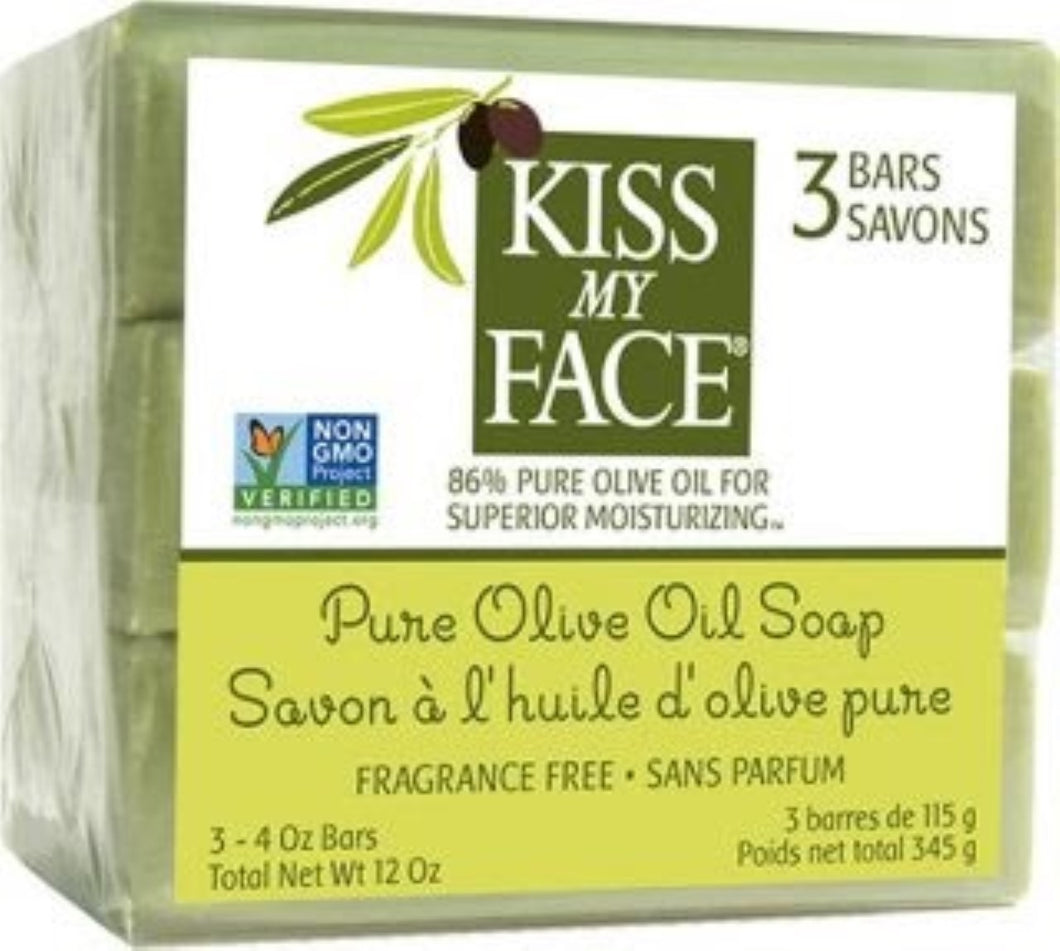 Kiss My Face Pure Olive Oil Bar Soap, 4ounce, 3 Count