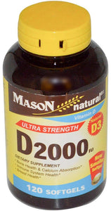Mason Natural Vitamin D3 2000 IU Ultra Strength Softgels 120 ea
