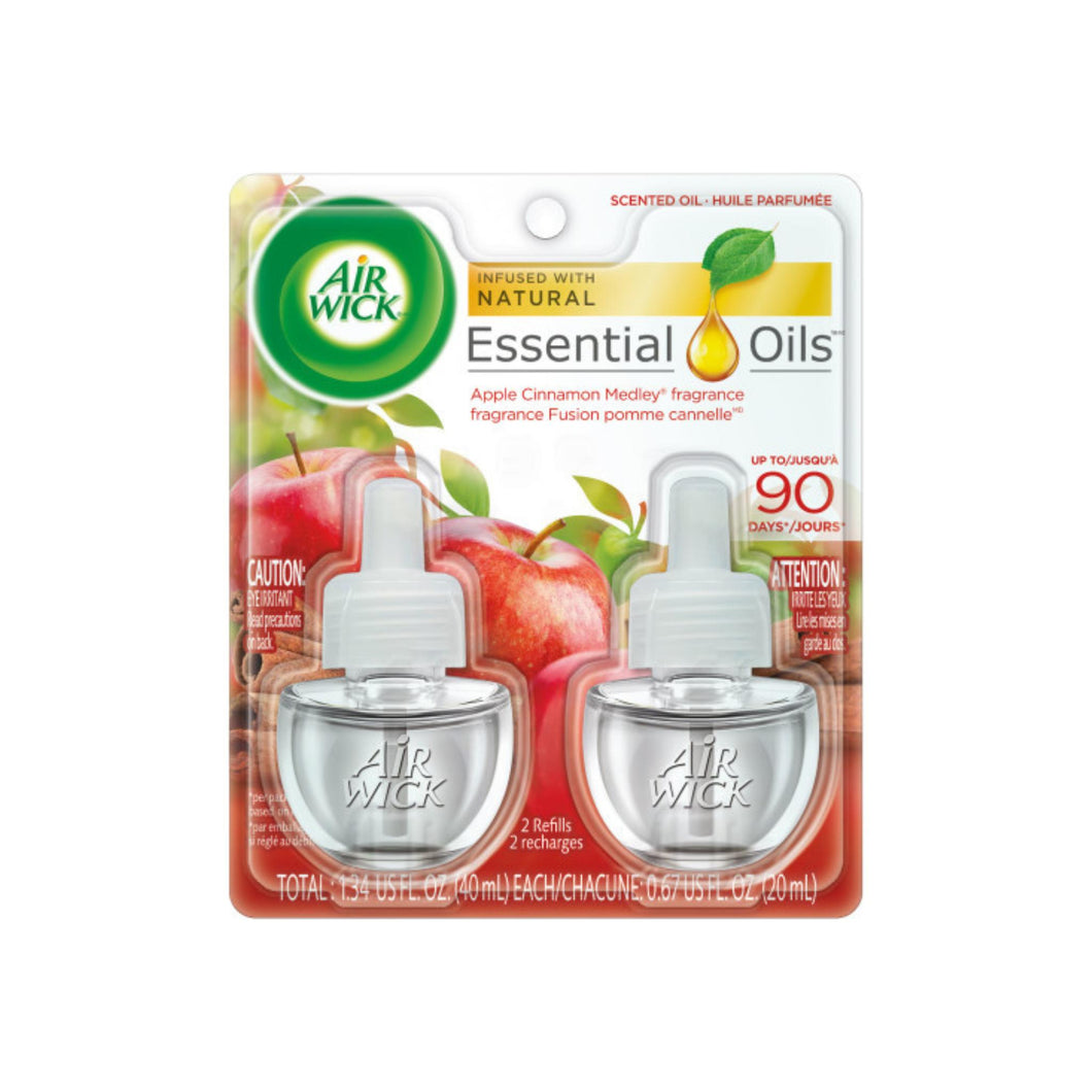 Air Wick Scented Oil Twin Refill Apple Cinnamon Medley (2X.67) oz