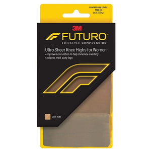 FUTURO Energizing Ultra Sheer Knee Highs Mild Small Nude 1 Pair
