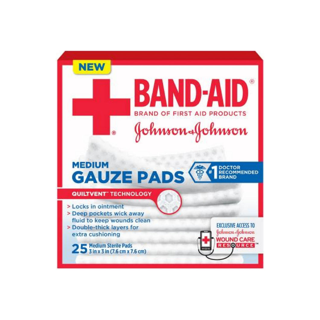 Band-Aid Johnson & Johnson Medium Gauze Pads, 25 Medium Sterile Pads 3 In X 3 In