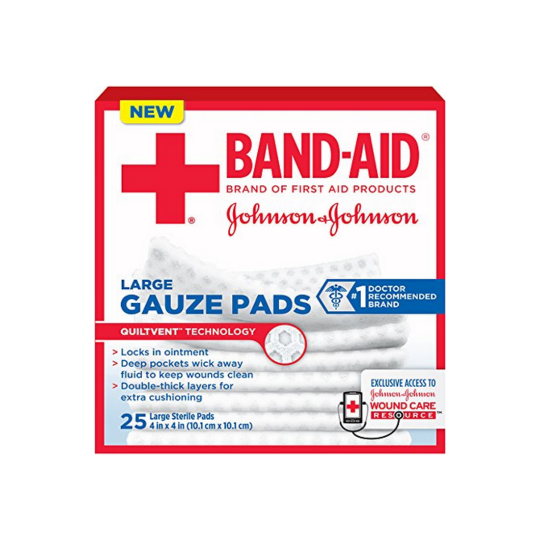 JOHNSON & JOHNSON Band-Aid First Aid Gauze Pads 4 Inches X 4 Inches 25 Each