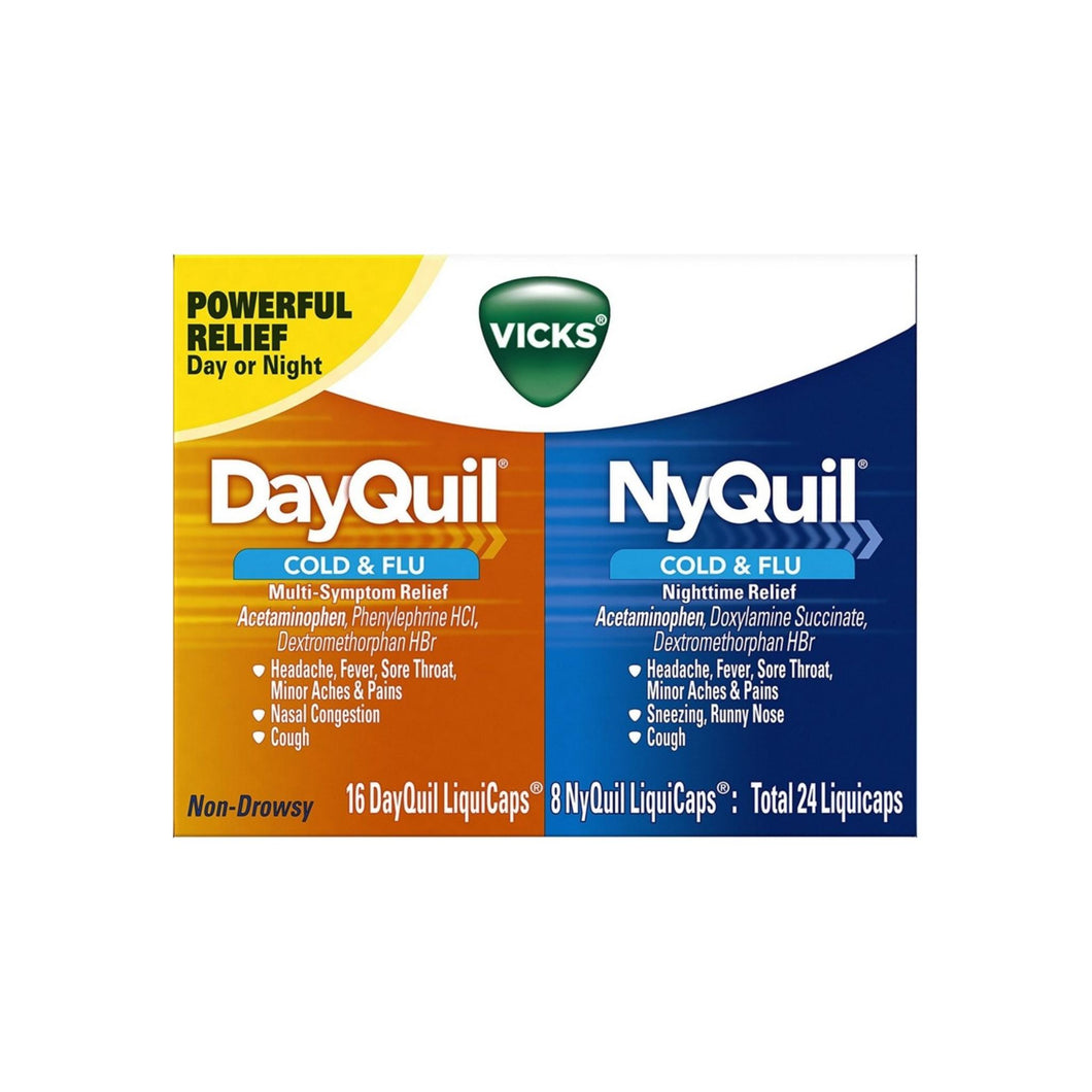 Vicks Dayquil & Nyquil Cold & Flu Relief Combo Pack LiquiCaps 24 ea