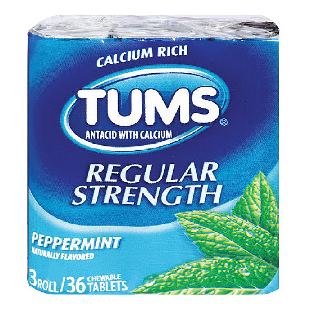 TUMS Regular Strength Antacid Chewable Tablets, Peppermint 36 ea