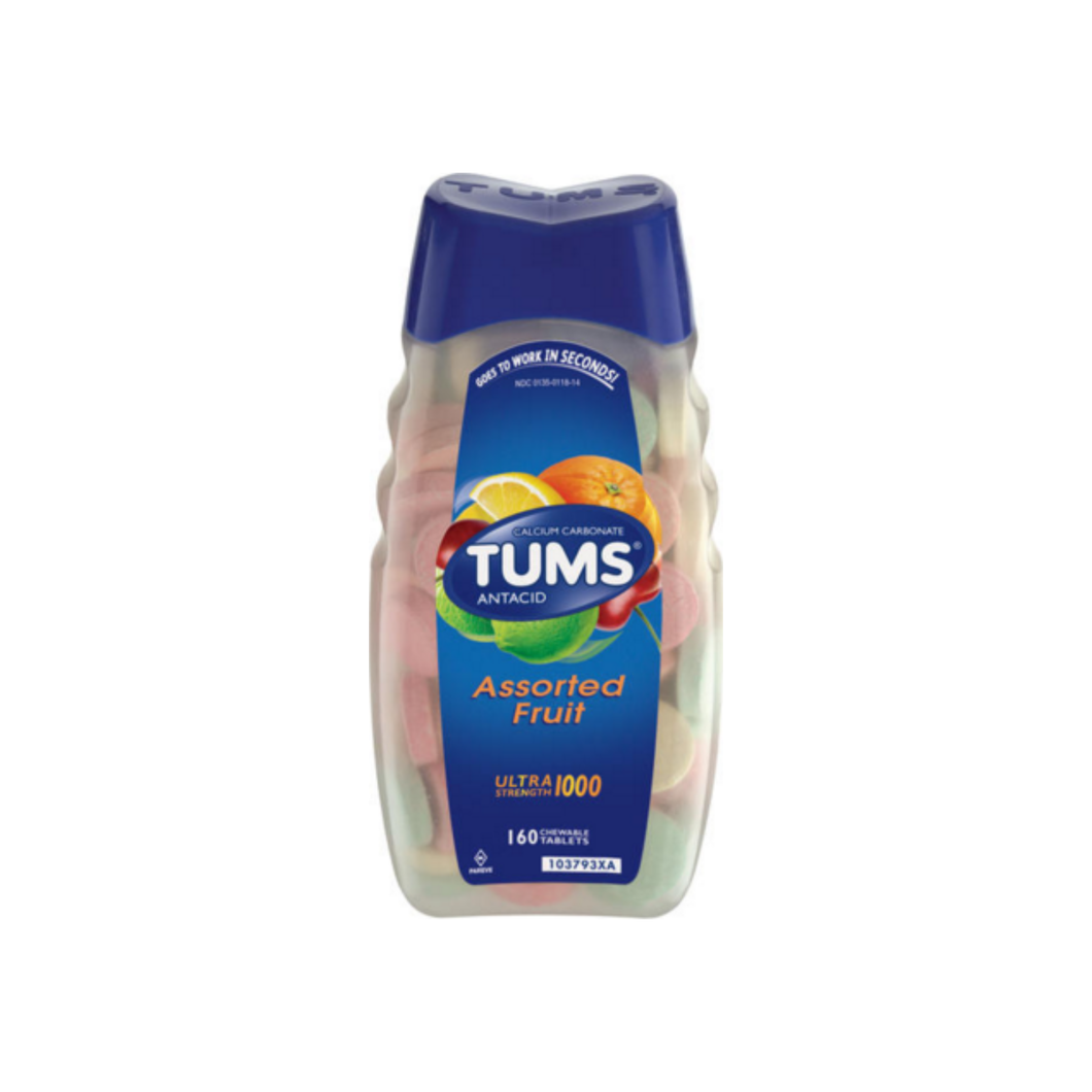 TUMS Ultra Strength 1000 Tablets Assorted Fruit 160 Chewable Tablets