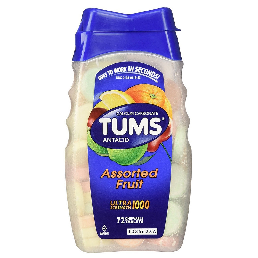 TUMS Ultra Strength Antacid/Calcium Chewable Tablets, Assorted Fruit 72 ea