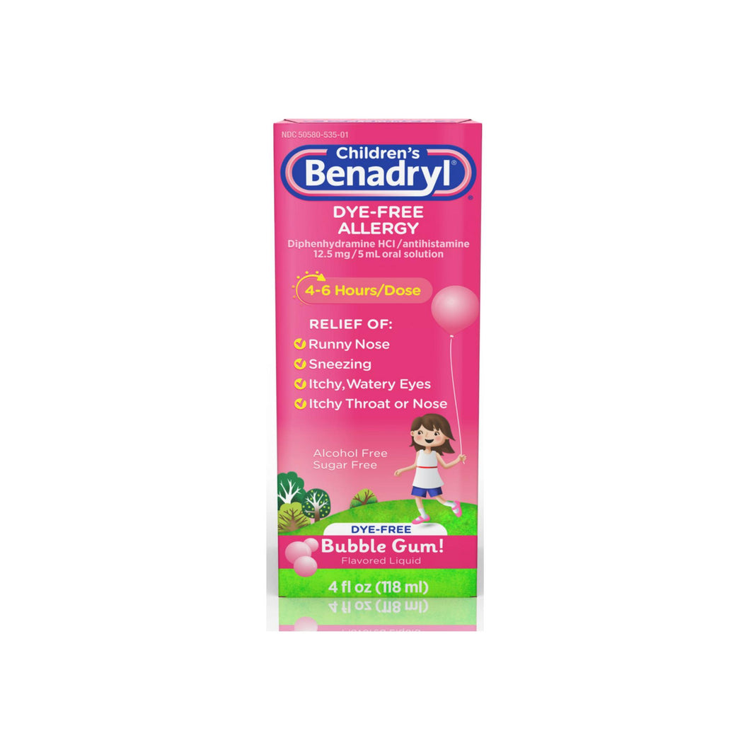 Benadryl Children's Dye-Free Allergy Liquid, Bubble Gum 4 oz