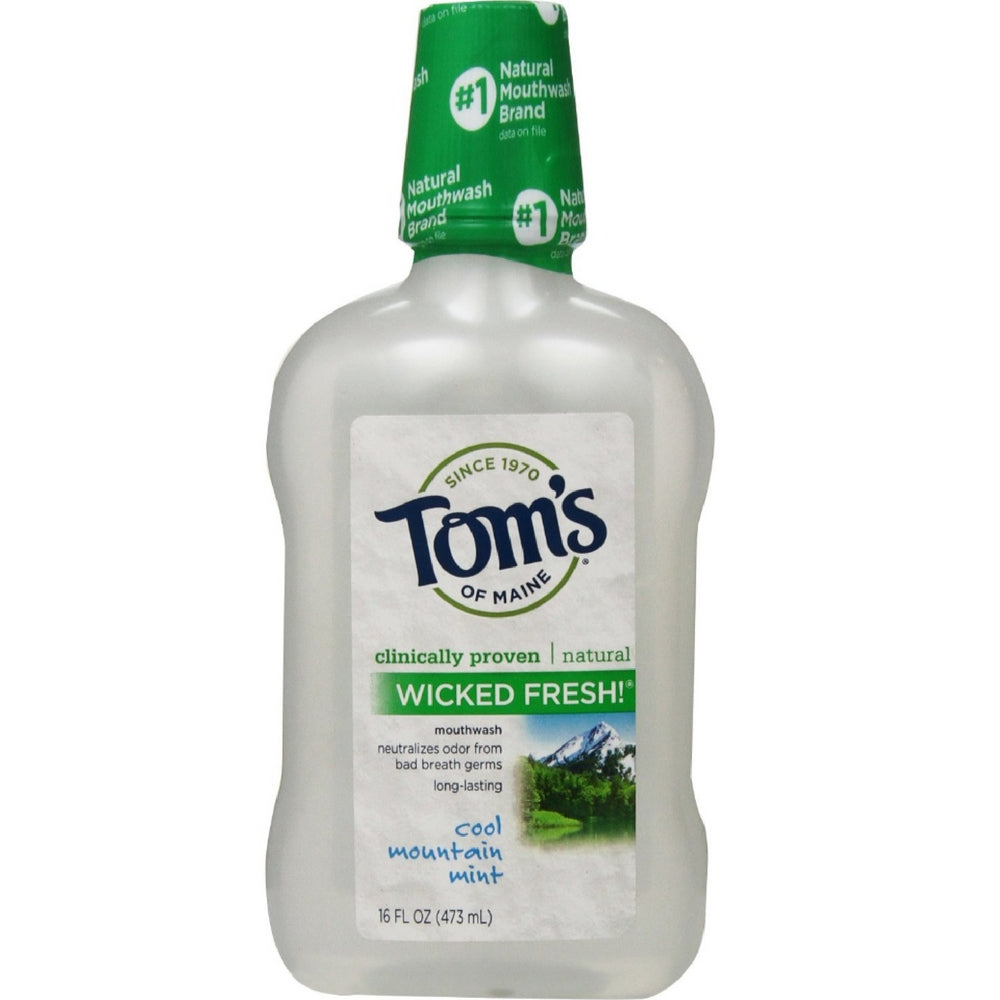Tom's of Maine Long Lasting Wicked Fresh Mouthwash, Cool Mountain Mint 16 oz