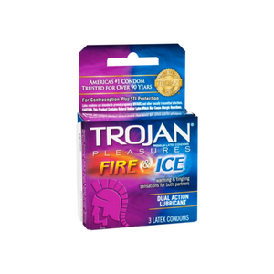 TROJAN Fire & Ice Condoms Lubricated Latex 3 Each