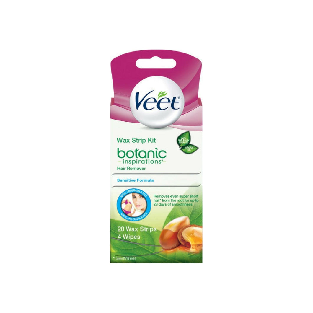 Veet Botanic Inspirations Wax Strip Kit, for Bikini, Underarm, Face, 20 ct