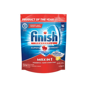 Finish Max in 1 Powerball, Ultra-Degreaser w. Lemon Dishwasher Detergent Tablets 16 ct
