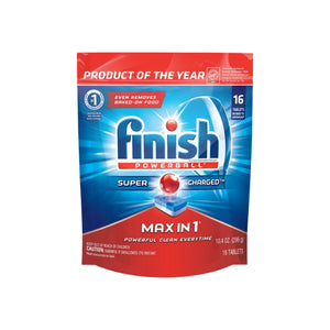 Finish Max in 1 Powerball,Wrapper Free Dishwasher Detergent Tablets 16 ct