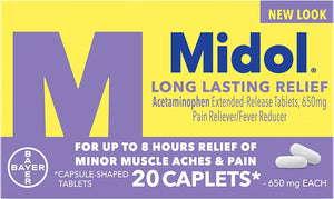 Midol Long Lasting Relief, with Acetaminophen, Pain Reliever & Fever Reducer, Menstrual Period Pain Symptoms, 20 Count