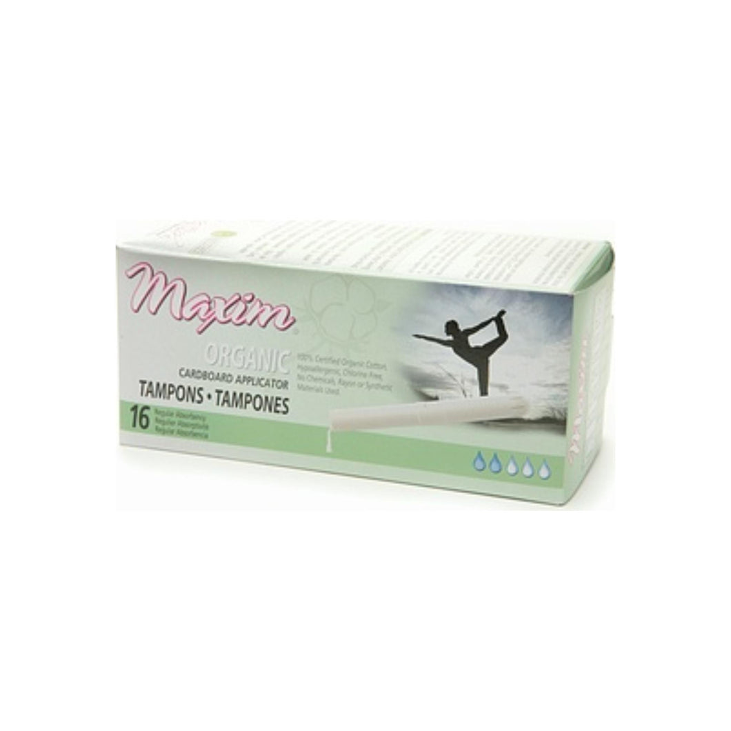 Maxim Hygiene Products Organic Cardboard Applicator Tampon, Regular 16 ea