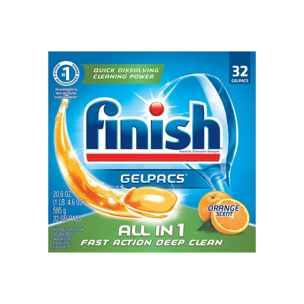 Finish All in 1 Gelpacs Orange,Dishwasher Detergent Tablets 32 ct
