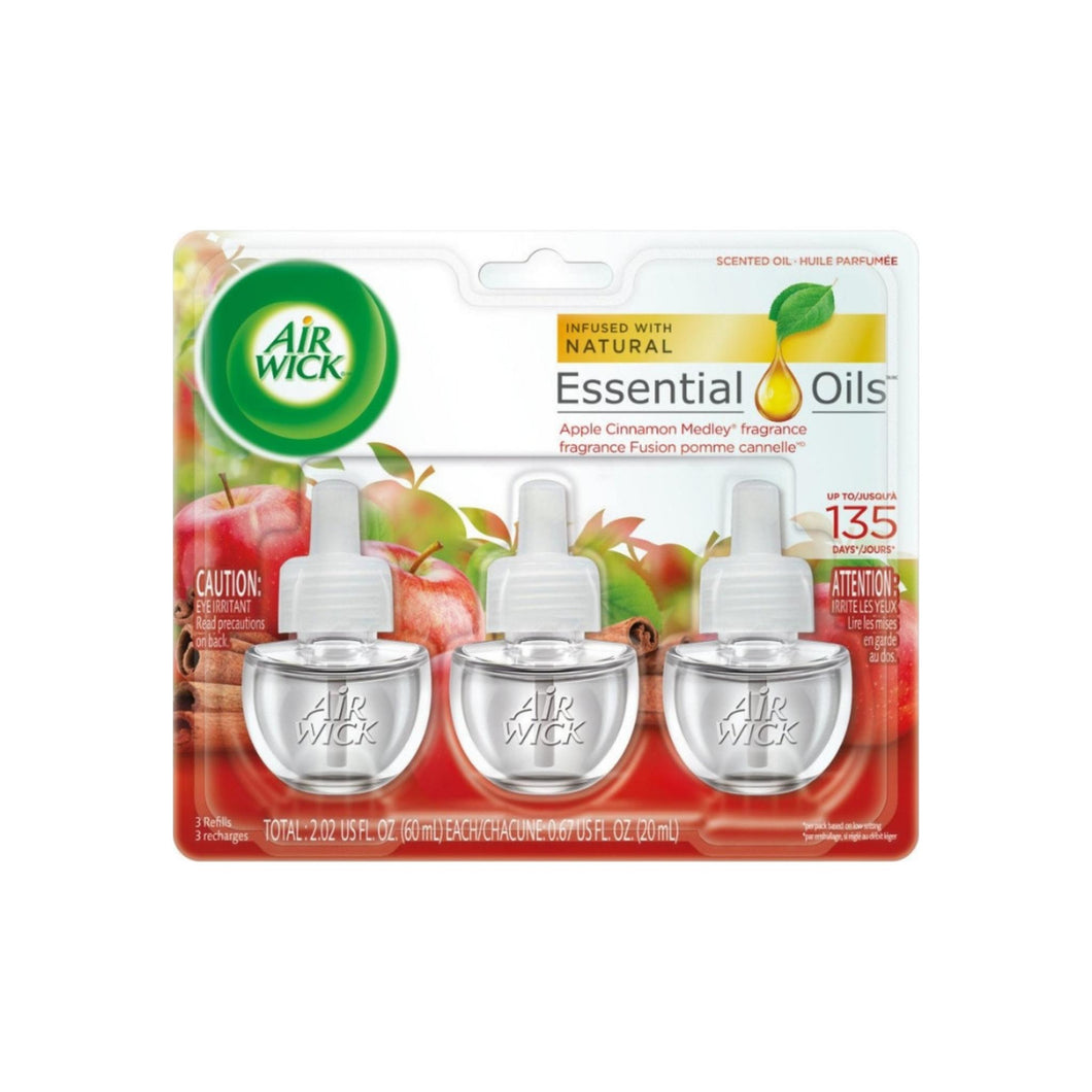 Air Wick Scented Oil Air Freshener, Apple Cinnamon Medley Scent, Triple Refills 3 ea