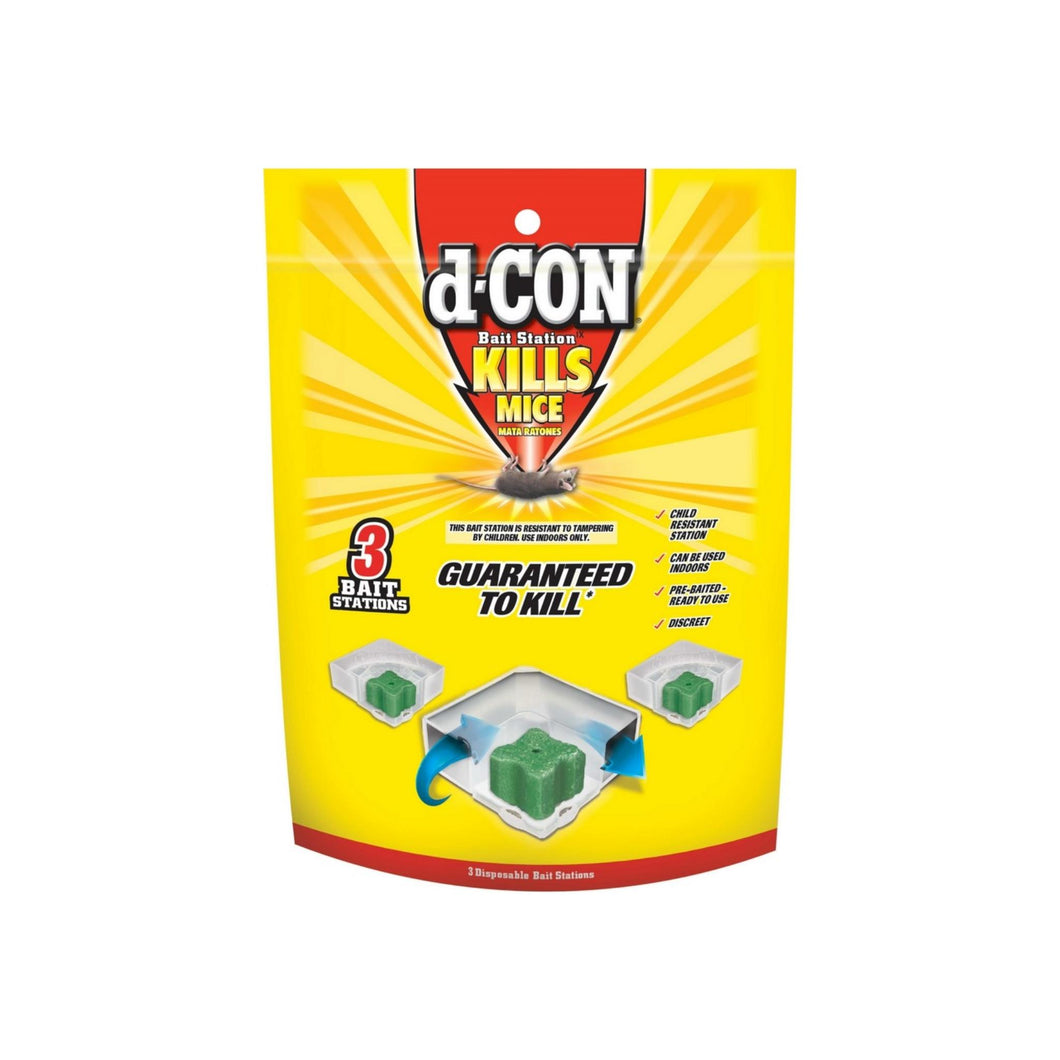 d-CON Disposable Corner Fit Mouse Poison Bait Station, 3 Bait Stations