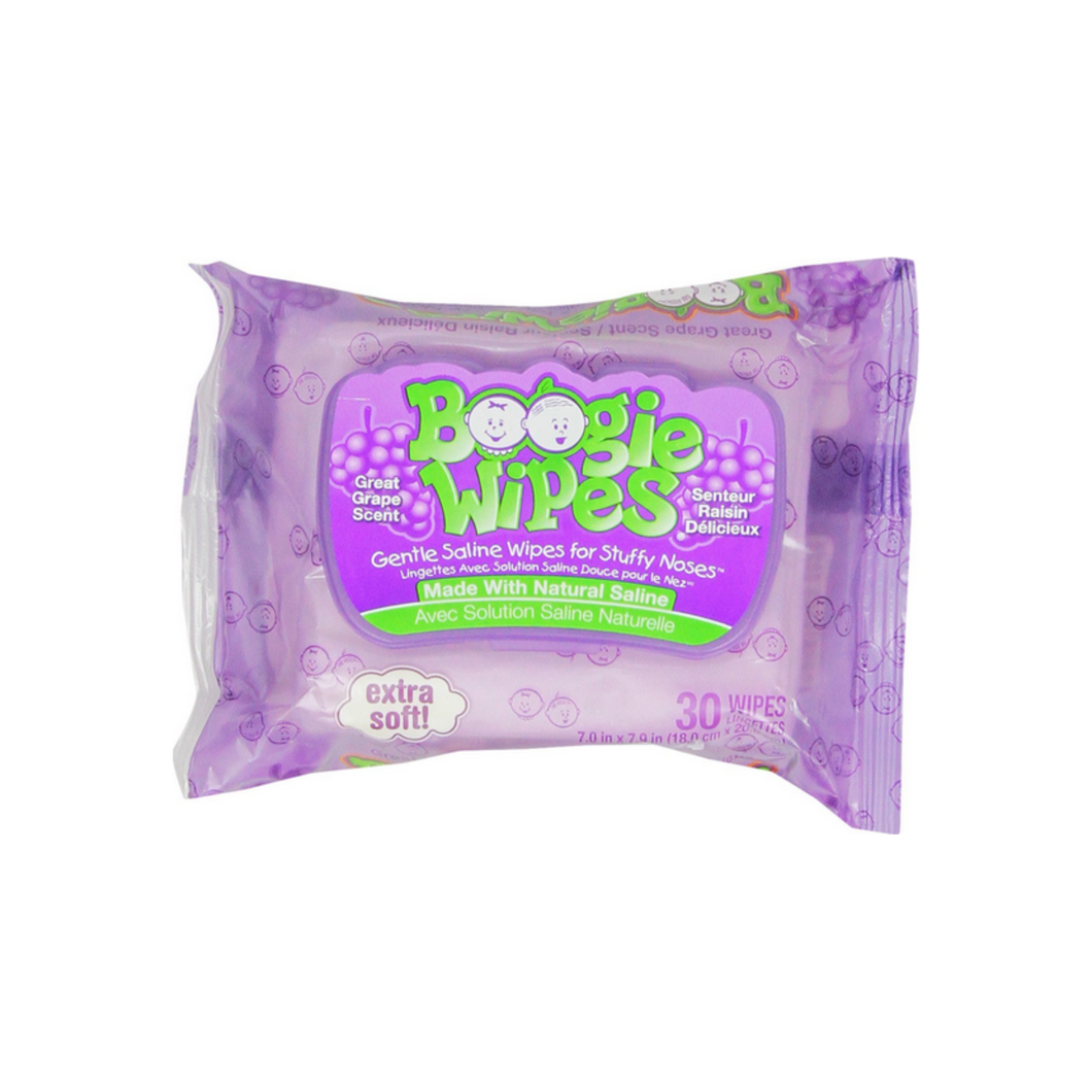 Boogie Gentle Saline Wipes for Little Noses, Great Grape 30 Each