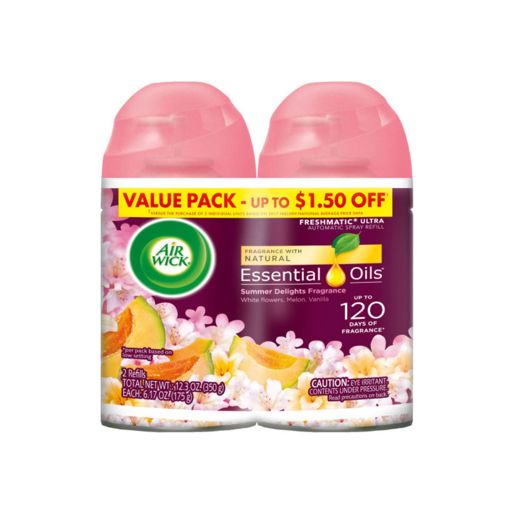 Air Wick Life Scents Automatic Air Freshener Spray, Summer Delights with White Flowers, Melon & Vanilla Scent, 6.17 oz each 2 ea