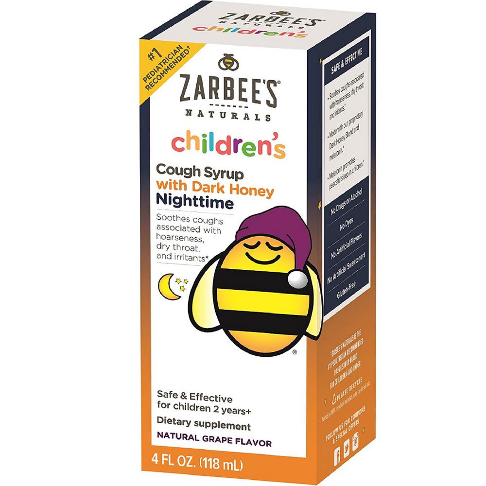 ZarBee's Naturals Children's Nighttime Cough Syrup with Dark Honey, Natural Grape 4 oz
