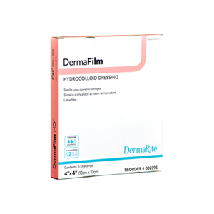 "DermaFilm Hydrocolloid Extra Thin Wound Dressing with Border [00259E] 4""X4"" 10 ea"