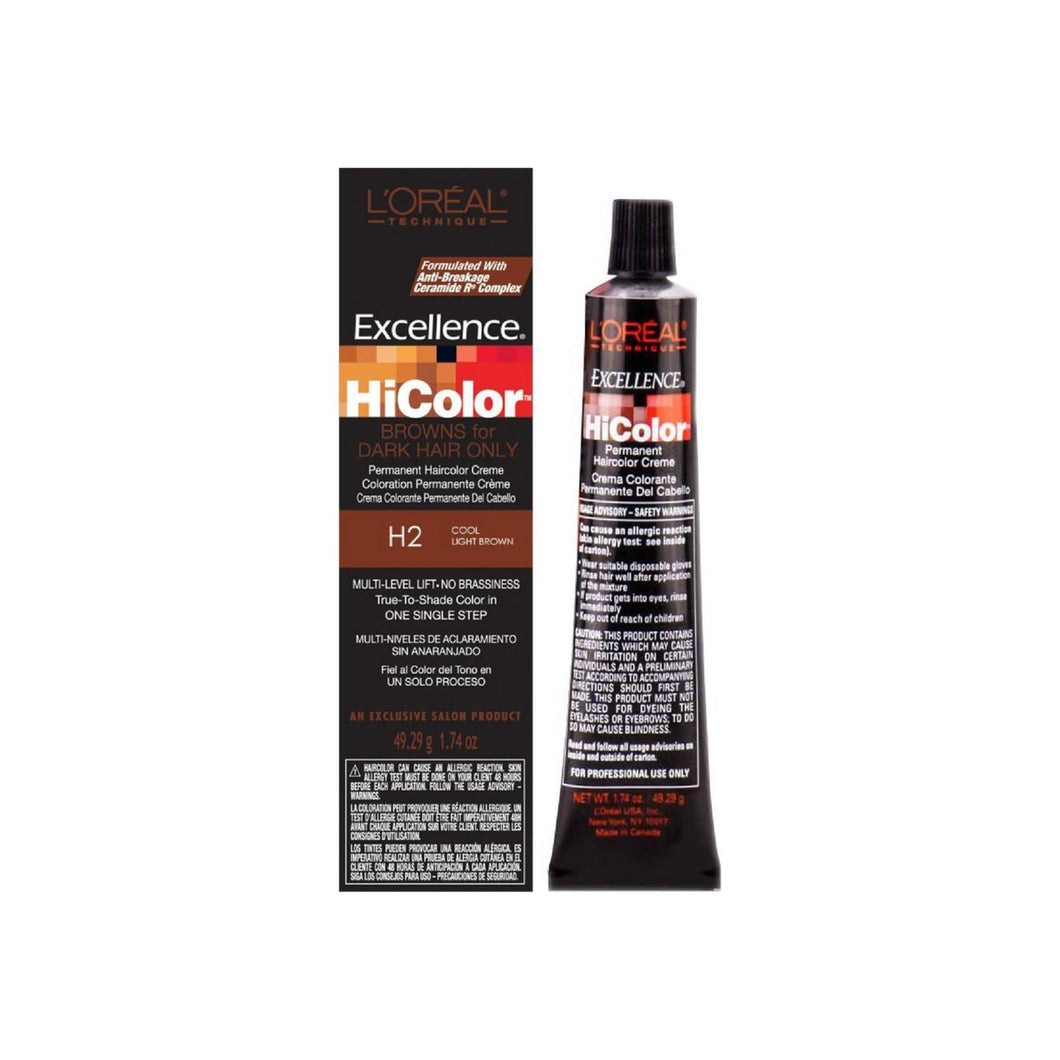 L'Oreal Excellence Hicolor Permanent Haircolor Creme, Cool Light Brown [H2] 1.74 oz