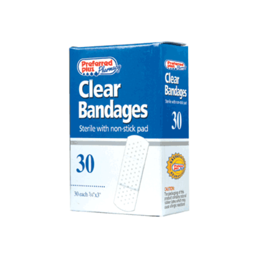 Bandages Clear Adhesive Sterile  with Non-Stick Pads - 3/4 Inch X 3 Inches  30 ea