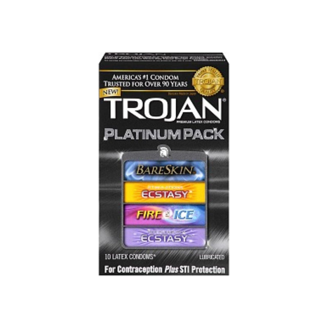TROJAN Platinum Pack Lubricated Latex Condoms 10 ea