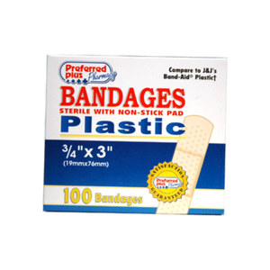 Bandages Plastic Adhesive, Sterile w/ Non-Stick Pads, 3/4 Inch x 3 Inches 100 ea