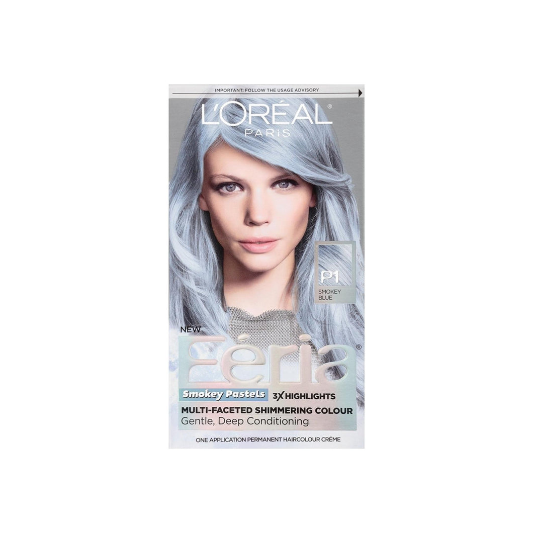L'Oreal Paris Feria Smokey Pastels Permanent Haircolor, Smokey Blue 1 ea