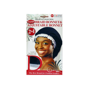 Donna Collection Premium 2 in 1 Satin Braid Bonnet & Adjustable Bonnet, Black 1 ea