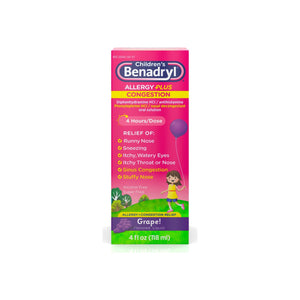 Benadryl-D Children's Allergy and Sinus Liquid Grape 4 oz